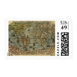 Universale Descrittione Map Postage Stamp