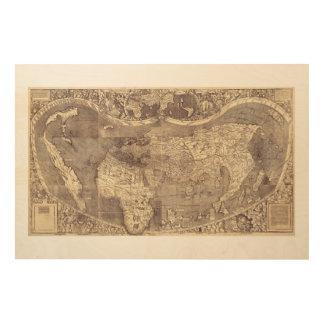 Universalis Cosmographia by M. Waldseemuller 1507 Wood Wall Art