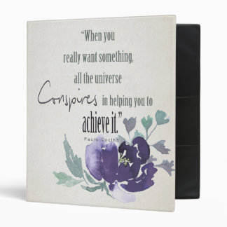 UNIVERSE CONSPIRES YOU TO ACHIEVE INK BLUE FLORAL BINDER