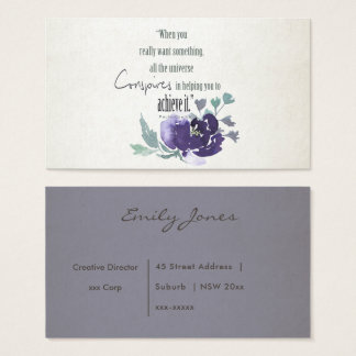 UNIVERSE CONSPIRES YOU TO ACHIEVE INK BLUE FLORAL BUSINESS CARD