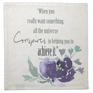 UNIVERSE CONSPIRES YOU TO ACHIEVE INK BLUE FLORAL NAPKIN