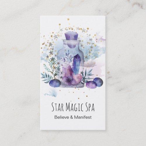 Universe Cosmos Stars Sky Crystals Mason Jar Business Card