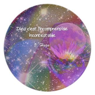 Universe, Flowers and Quote about god Plate