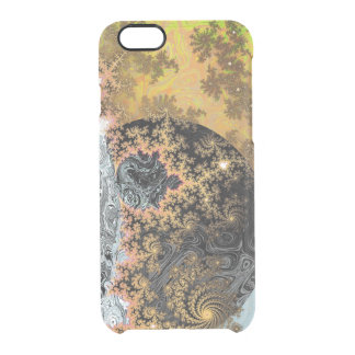 Universe Galaxy Black Bright Yellow Stars Fractal Clear iPhone 6/6S Case