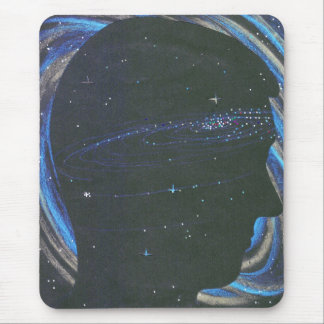 Universe person silhouette in space mouse pad