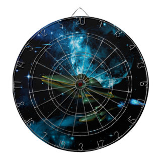 Universe with alien ship dart boards