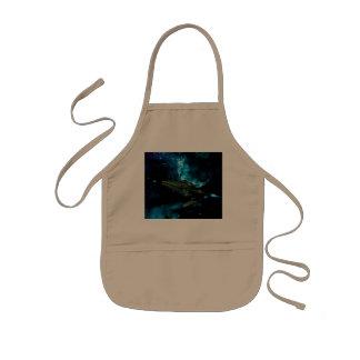 Universe with alien ship kids' apron