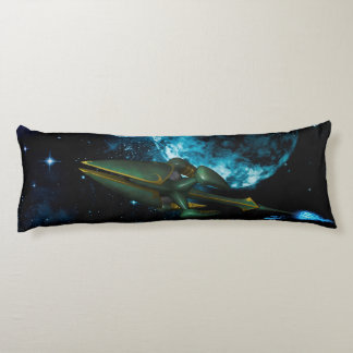 Universe with alien ship body pillow
