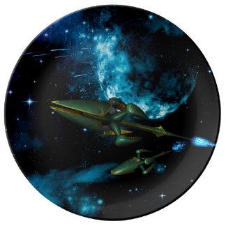 Universe with alien ship porcelain plate