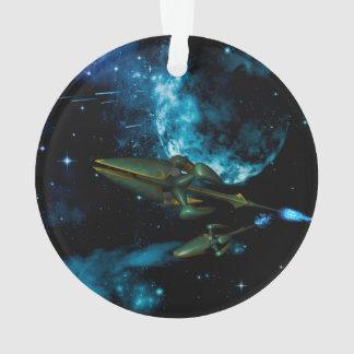 Universe with alien ship ornament