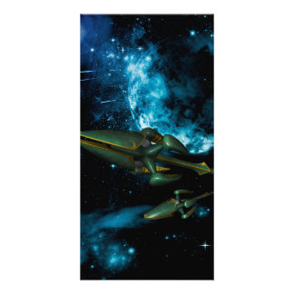 Universe with alien ship photo cards