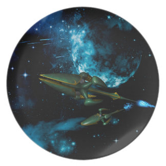 Universe with alien ship plates
