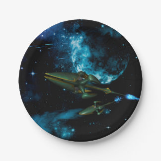 Universe with alien ship 7 inch paper plate