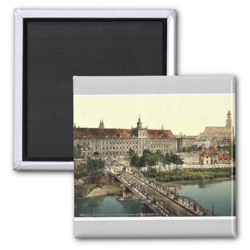 Universidad con el puente, Breslau, Silesia, Alema Imán Cuadrado
