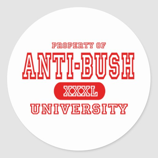 Universidad de Anti-Bush Etiquetas Redondas