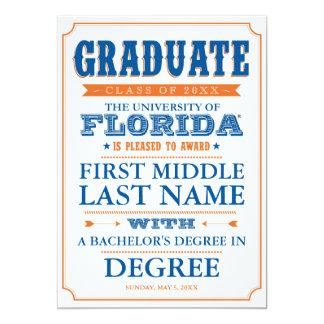 """Universidad de la graduación de la Florida Invitación 5"""" X 7"""""""