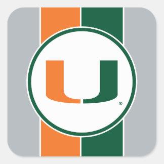 Universidad de la marca primaria de Miami Pegatina Cuadrada