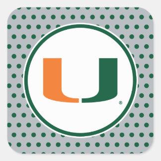 Universidad de la marca primaria de Miami Calcomanías Cuadradases