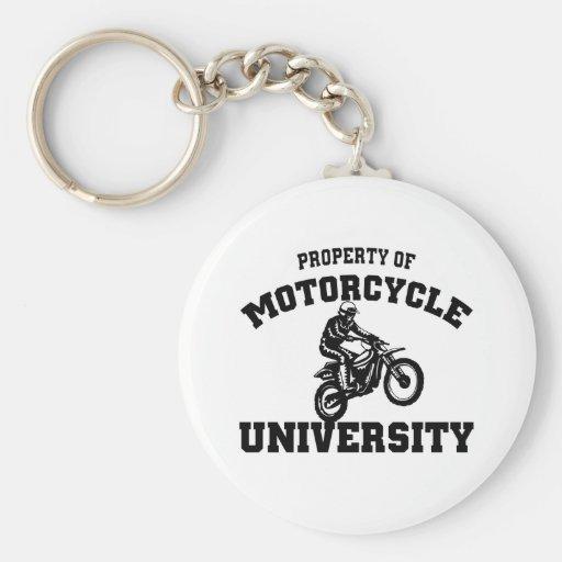 Universidad de la motocicleta llavero redondo tipo pin