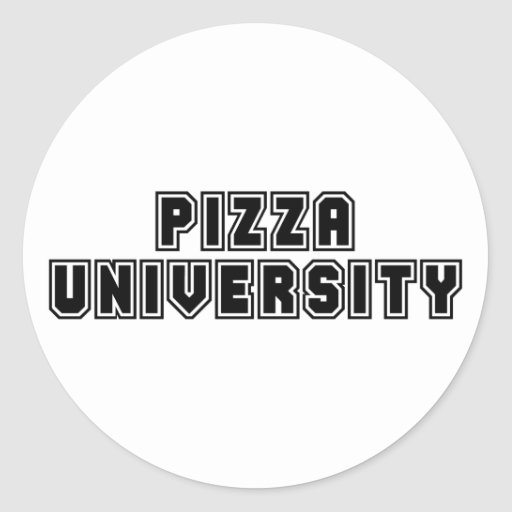 Universidad de la pizza etiquetas redondas
