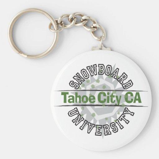 Universidad de la snowboard - ciudad CA de Tahoe Llavero Redondo Tipo Pin