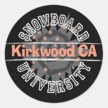 Universidad de la snowboard - Kirkwood CA Etiquetas Redondas