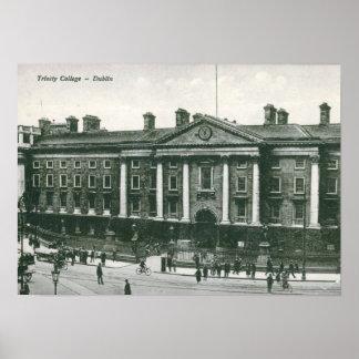 Universidad de la trinidad, vintage de Dublín Póster