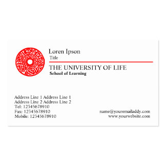 Universidad de la vida - regla roja tarjetas de visita