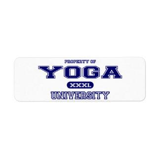 Universidad de la yoga etiqueta de remite