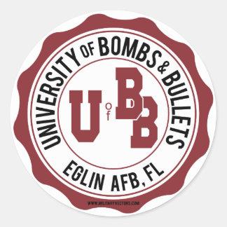 Universidad de las bombas y de las balas Eglin Pegatina Redonda