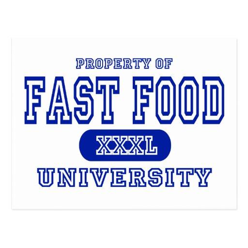 Universidad de los alimentos de preparación rápida postal