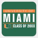 Universidad de los alumnos de Miami Pegatina Cuadradas