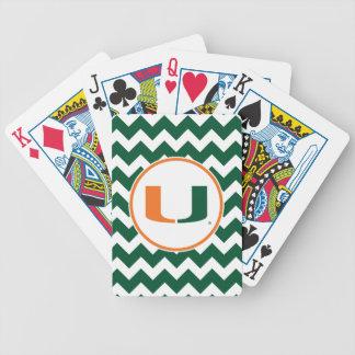 Universidad de Miami verde y del naranja U Cartas De Juego