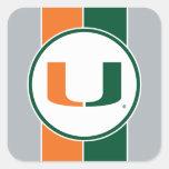 Universidad de Miami verde y del naranja U Pegatina Cuadrada