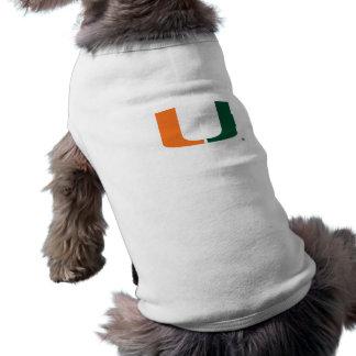 Universidad de Miami verde y del naranja U Playera Sin Mangas Para Perro