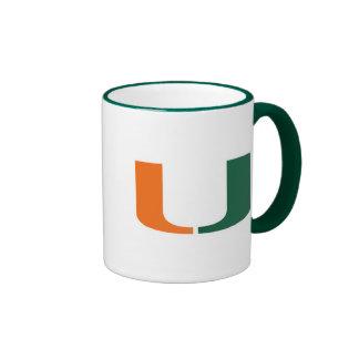 Universidad de Miami verde y del naranja U Taza De Dos Colores