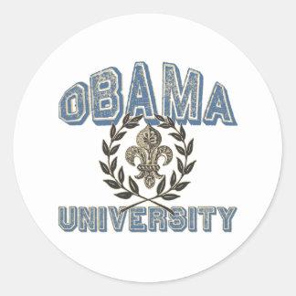 Universidad de Obama Fleur Pegatina Redonda