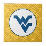 Universidad de Virginia Occidental que vuela WV Azulejo Cuadrado Pequeño