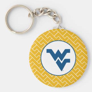 Universidad de Virginia Occidental que vuela WV Llavero Redondo Tipo Pin