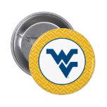 Universidad de Virginia Occidental que vuela WV Pin Redondo De 2 Pulgadas