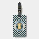 Universidad del ajedrez en emblema de la tierra de etiquetas maletas