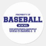 Universidad del béisbol etiquetas redondas