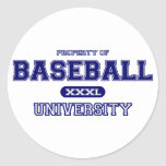 Universidad del béisbol pegatina redonda
