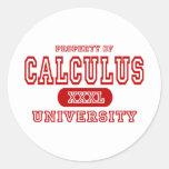 Universidad del cálculo etiqueta redonda