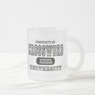Universidad del crucigrama taza de cristal