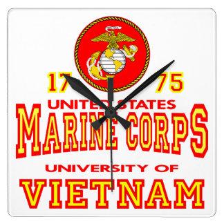 Universidad del Cuerpo del Marines de Estados Unid Reloj Cuadrado
