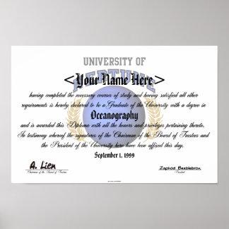 Universidad del diploma de Neptuno Impresiones