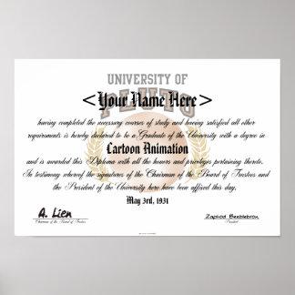 Universidad del diploma de Plutón Póster