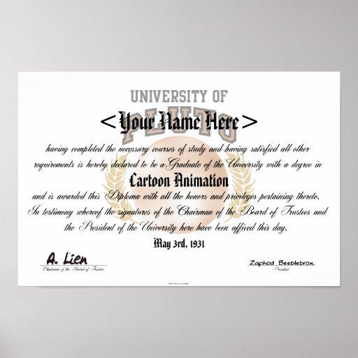 Universidad del diploma de Plutón Poster