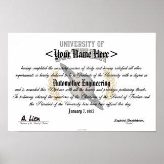 Universidad del diploma de Saturn Posters